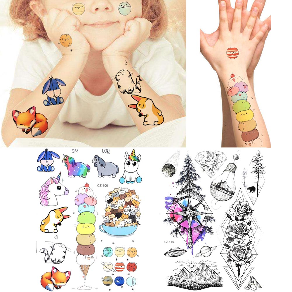 Colorful Kid Face Arm Cartoon Temporary Tattoo Boys Legs Fox Women Tattoo Stickers Flash Baby Waterproof Geometry Tree Tatoos