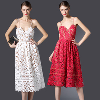 2016 New Arrive Self Portrait Handmade White And Red Summer Lace Dress Sexy Flower Elegant Women