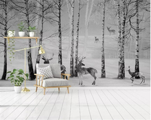 цены beibehang wallpapers for living room Modern abstract Black and white woods elk mural tv living room background wall 3d wallpaper