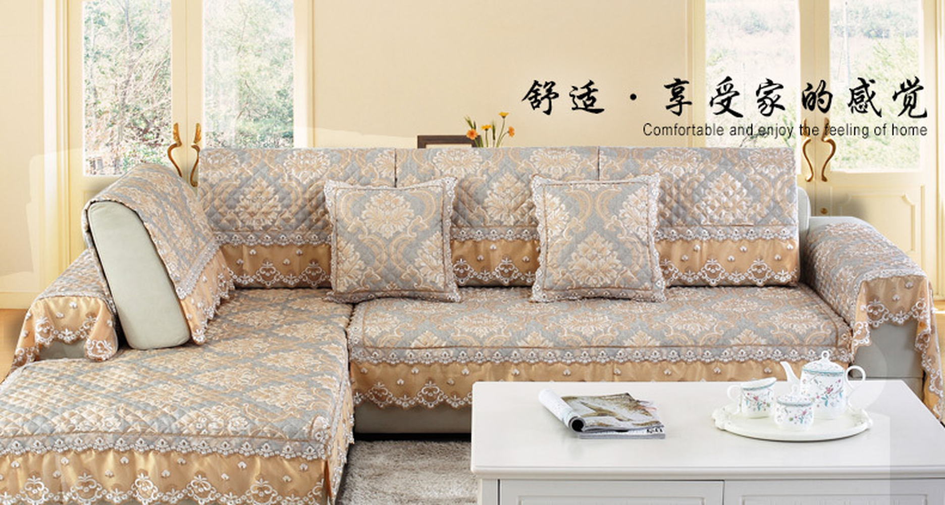 Upscale European Linen Sectional Sofa Cover High Quality Embroidery Couch Slipcovers Living Room Towel Cushion Pillowcase In From Home