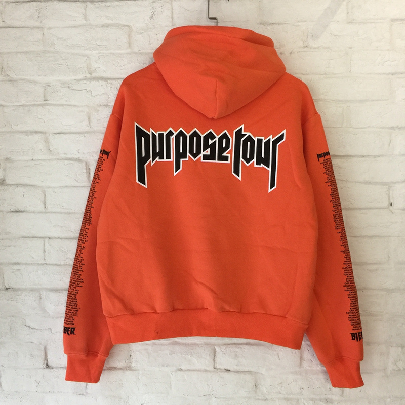 Hoodies & Sweatshirts Staff 2018 New Cotton Orange Letter Kanye West Purpose Hip Hop Skateboard Hoodies Men Full High Street Sweatshirts London