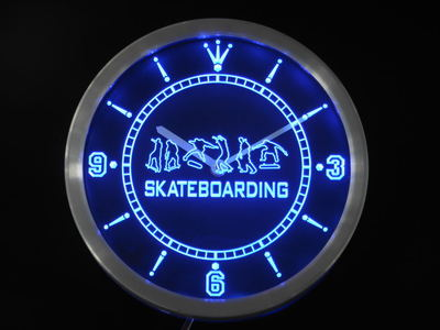 nc0359 Skateboarding Training Game Neon Sign LED Wall Clock