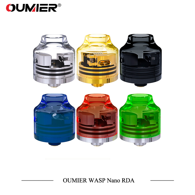 New Color OUMIER WASP NANO RDA Big Deck Rebuildable Tank 22mm Adjustable Airflow Bottom Airflow NANO RDA with Resin Color Tank hot sale oumier wasp nano rda tank 22mm rda atomizer with squonkable bottom pin