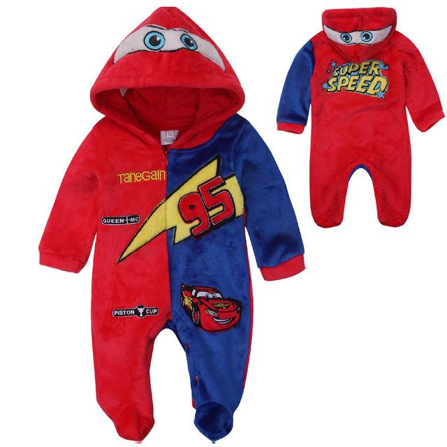 Macacão de Bebê de alta Qualidade Bonito Caráter Carro Moda Newborn Infant Toddler Quente Macacão Com Capuz Outerwear Bebê Footies Pijama