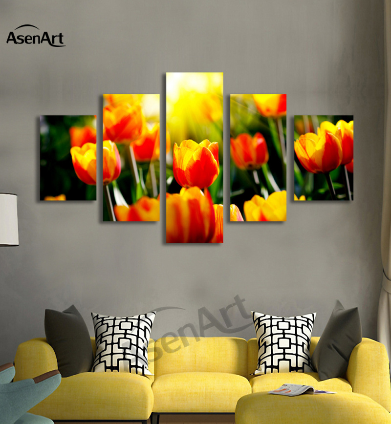Aliexpress.com : Buy 5 Panel Wall Canvas Tulips Flower