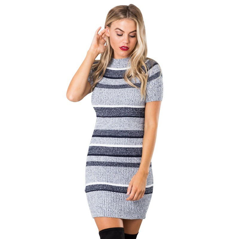 cb9be342261e 2016 Autumn winter Blue striped knitted bodycon dress short sleeve girls  knitwear Elegant evening party sexy dress women -in Dresses from Women's  Clothing ...