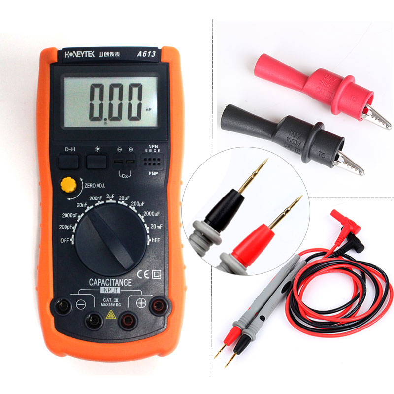 Maching with Crocodile clip and test pen professional Digital LCD Multimeter Capacitance mini Meter Tester 1 pair silicone wire universal probe test leads pin for digital multimeter needle tip multi meter tester probe 20a 1000v
