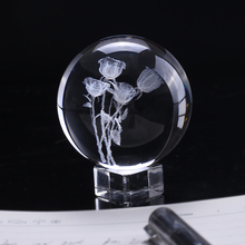 60mm 3D Laser Engraved  Rose Crystal Ball Miniature Flower Globe Glass Sphere Home Decoration Valentine's Day Gift Ornament
