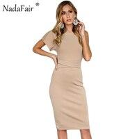 Nadafair Midi Bodycon סקסי שרוול קצר כתף אחת 95% כותנה נשים מסיבה מזדמן שמלת חאקי