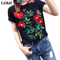 GOKIC Black Embroidery Flower Blouse Shirt Women 2017 Newest Summer Tops Blouse Female Blusas Short Sleeve
