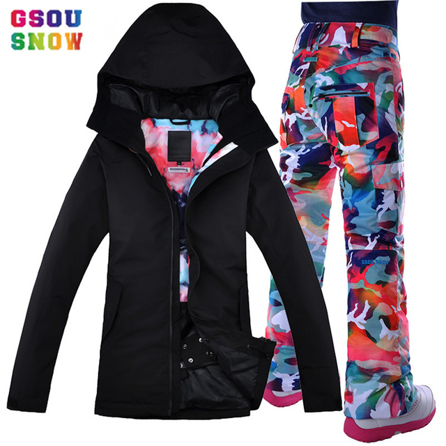 Gsou снег Новый женский лыжный костюм на открытом воздухе водостойкий Альпинизм двойная доска Одиночная доска черный Dazzle цвет женский лыжный костюм