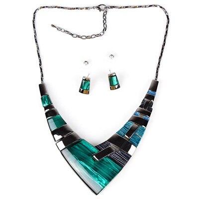 MS20101 Модный Ювелирный Набор, бронзовое покрытие, яркие цвета, высокое качество, женское ожерелье, серьги, набор, свадебные ювелирные изделия - Окраска металла: Green