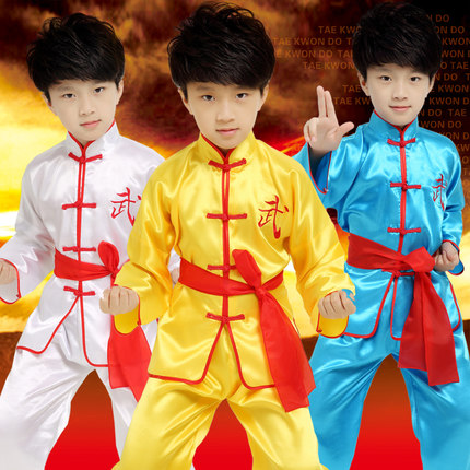 2018 3Colors New Kids Long Sleeve Stand-collar Chinese Kung Fu Uniform Festival Performance Wear Suits For Men Top + Pant + Belt