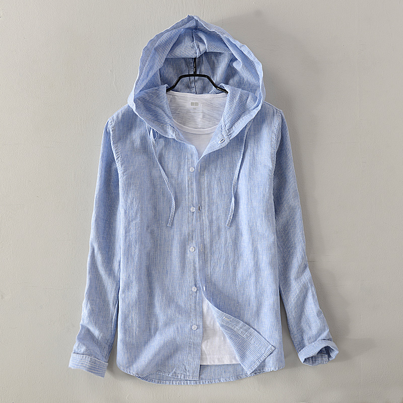 2018 New Men's Cotton And Linen Casual Hooded Long-sleeved Shirt Solid Sky Blue Shirts Men Autumn Fashion Shirt Male Camisa