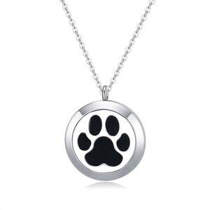 316L нержавеющая сталь собачья лапа (25 30 мм) Ароматерапия Эфирные диффузорный медальон с маслами кулон ожерелье