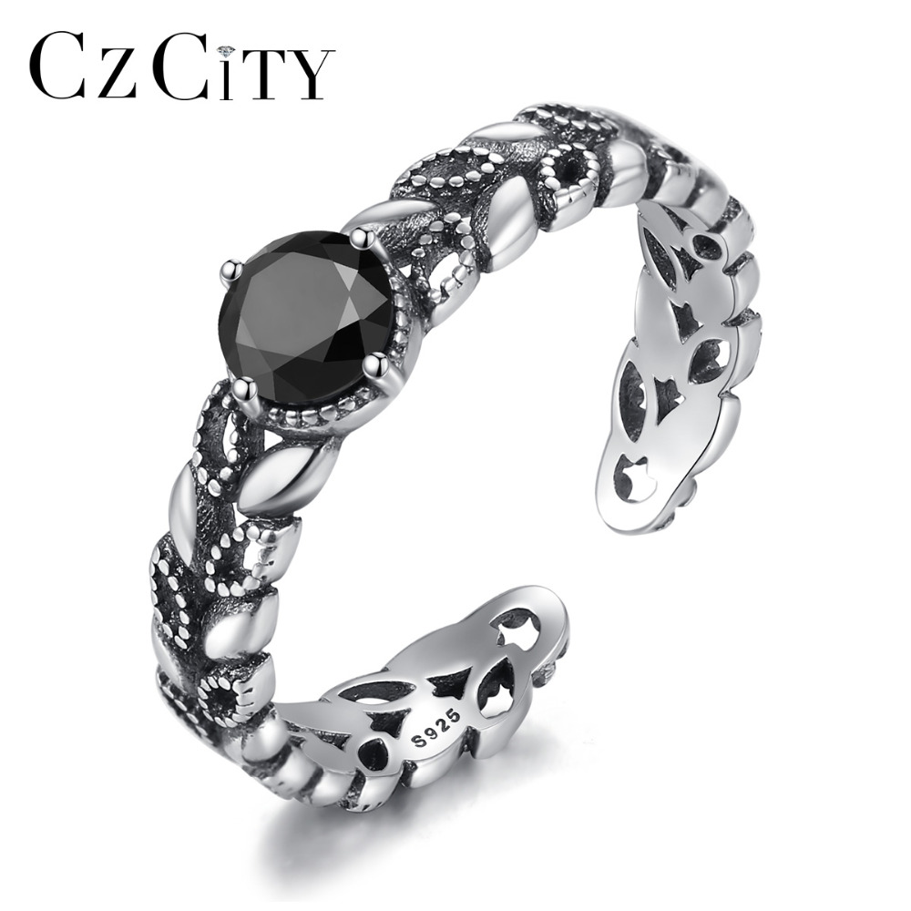 CZCITY Real 925 Sterling Silver Retro Open Rings For Women Unique Hollow Leaves Design Vintage Gemstone Cuff Rings Femme Bijoux