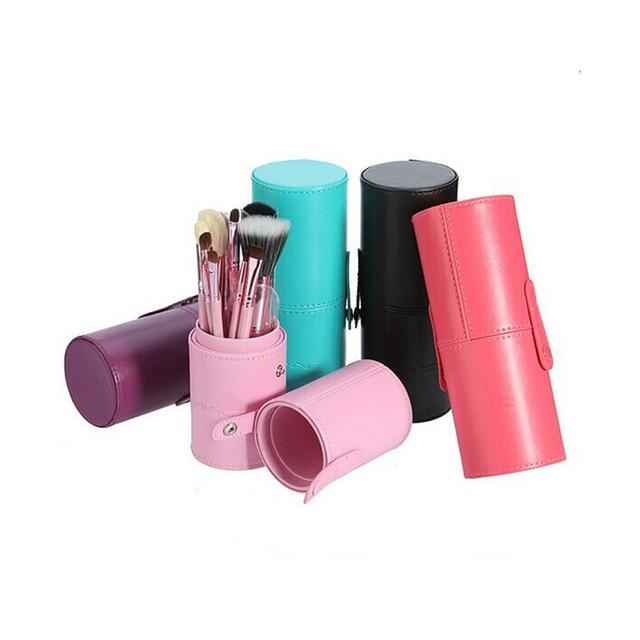 12 unids Pincel de Maquillaje Profesional Conjunto de Herramientas de Cuero camisa Del Cilindro de Polvo Cosmético Pinceles de Maquillaje Kit de Sombra de Ojos Cejas Eyeliner