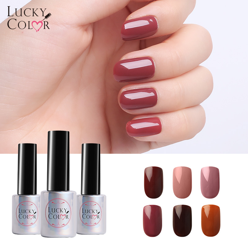 Coffee Nail Gel Lacquer For Nails Art Uv Gel Polish Brown Nude Lucky