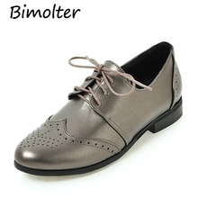 Bimolter New Women Fashion Lace-up Brogue Shoes Pointed Toe Ladys Super Big Size 30-50 Classic Casual Comfortable Flats PFEB004