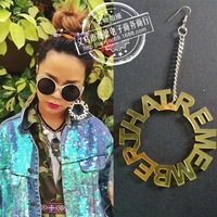 Remember That Gold Mirror Acrylic Hip Hope Round Drop Earrings 2015 New Arrival Spring Jewelry