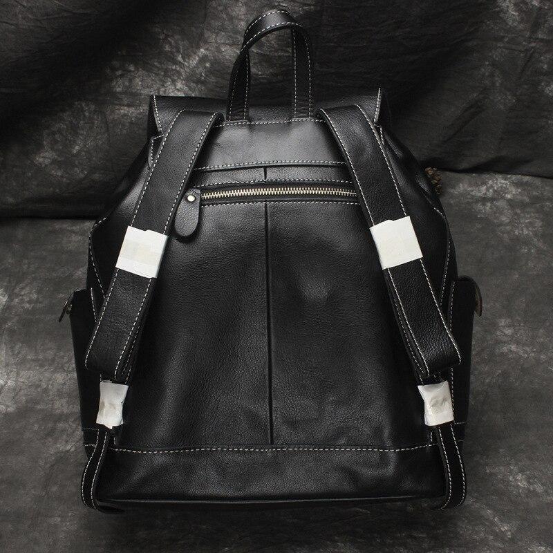 Nesitu Hohe Qualität Große Große Vintage Schwarz Braun Gemüse Gegerbtem Echtem Leder frauen Rucksack Mädchen Weibliche Reisetasche M6014 - 4