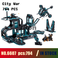 Models building toy 6607 794pcs City War X agents Spaceport Helicopter Motorcycle Building Blocks Compatible with lego & hobbies