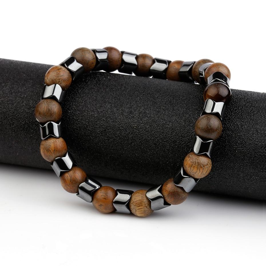 8MM Sandalwood Natural stone Hematite Bracelet men Elastique Ajustable Beaded Bracelets Charm Bracelets Friendship Men jewelry in Strand Bracelets from Jewelry Accessories