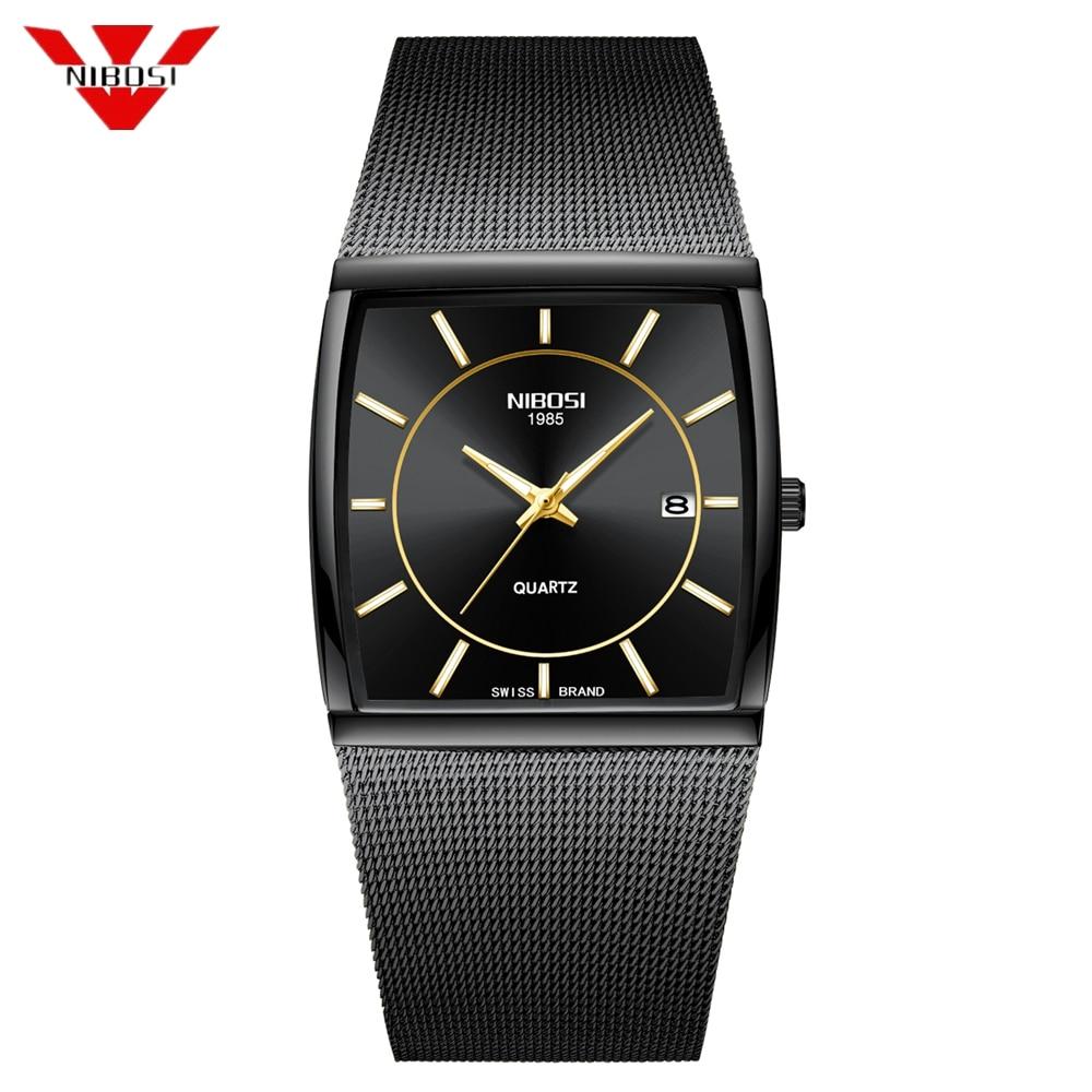 NIBOSI Top Brand Luxury Men Square Quartz Watches Male Waterproof Date Clock Black Mesh Stainless Steel Wrist Watch For Men 2019