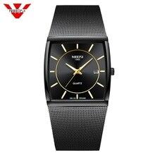 NIBOSI למעלה מותג יוקרה גברים כיכר קוורץ שעונים זכר עמיד למים תאריך שעון שחור רשת נירוסטה שעון יד לגברים 2019