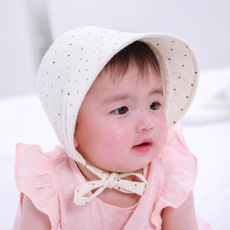 9e11d6d60f44 Spring Autumn New Newborn Baby Dots Print Sunhat Fashion Breathable Infants Bucket  Hat Cute Bow Baby Cotton Cap Baby Girls Hats