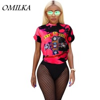 OMILKA 2017 Summer Women Short Sleeve O Neck Guns And Roses Letter Printed T Shirt Casual