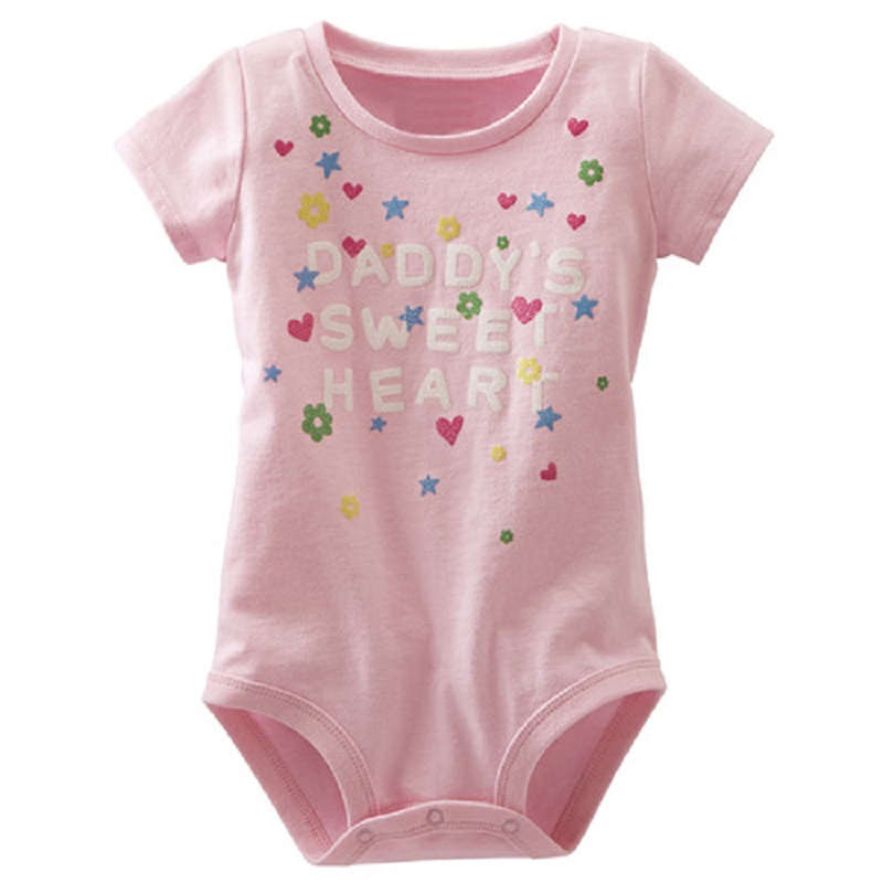 Pink Sweet Baby Girls Clothes One Piece Bodysuits Infant Jumpsuits Bebe Girls Dress Outerwear Summer Baby Bodysuit 100% Cotton Girls' Baby Clothing