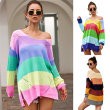 2019 Women Autumn Rainbow Knitted Sweaters V Neck Hollow Out Long Sleeve Batwing Oversized Sweater Fall Knit Cloth