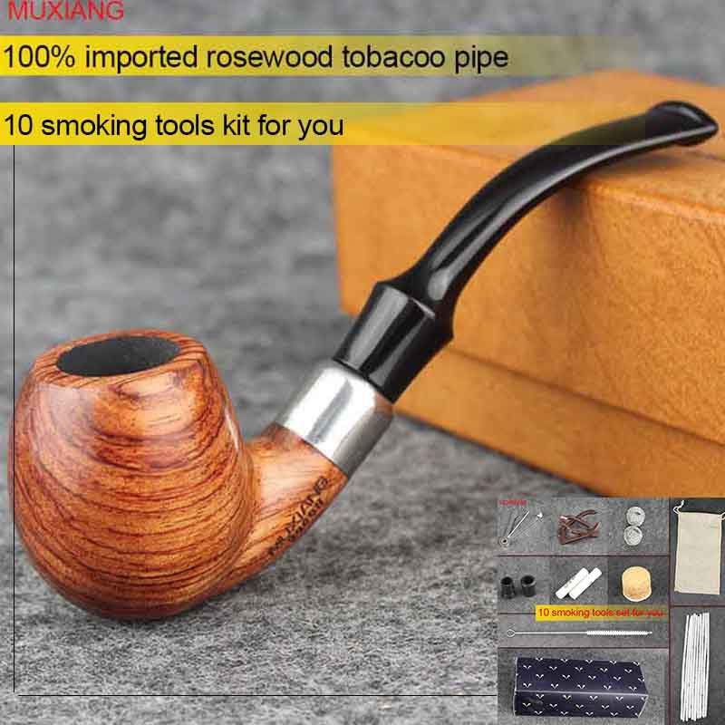MUXIANG kevazingo woodTabacco Pipe Bent Stem with Acrylic Saddle mondstuk Heren gebogen houten pijp met 9 mm filter ad0038