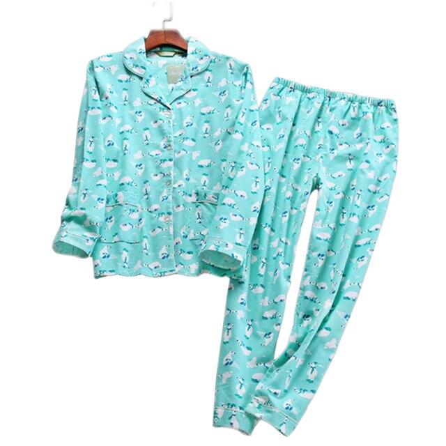 124439177 De dibujos animados lindo pijama 100% algodón pijamas de las mujeres conjuntos  otoño Oso polar cepillado traje ropa dormir mujer