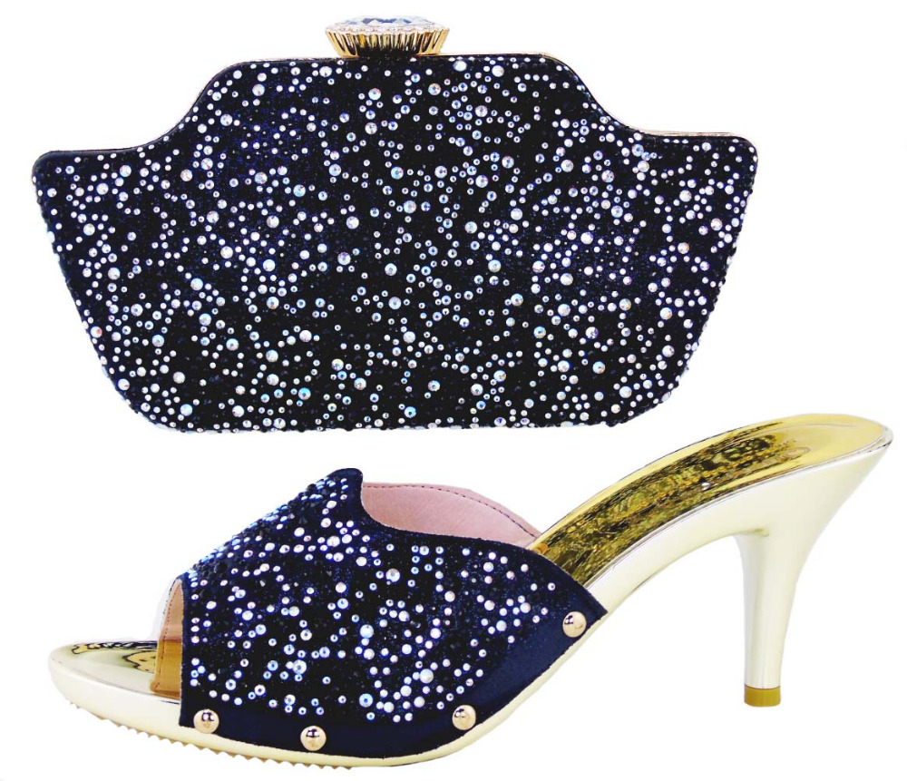 ФОТО High heel Quality assurance Italian Shoes with matching bags African HS001Black Shoe And Bag Set For Party