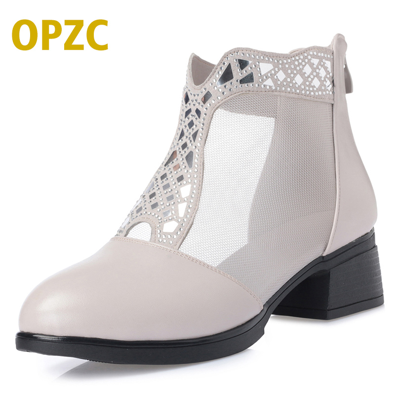 OPZC New high-quality genuine leather woman shoes hollow Net Yarn cowhide women sandals summer breathable crystal female shoes artmu fashion women sandals shoes hollow breathable handmade genuine leather shoes woman beach shoe soft bottom 2018 summer new