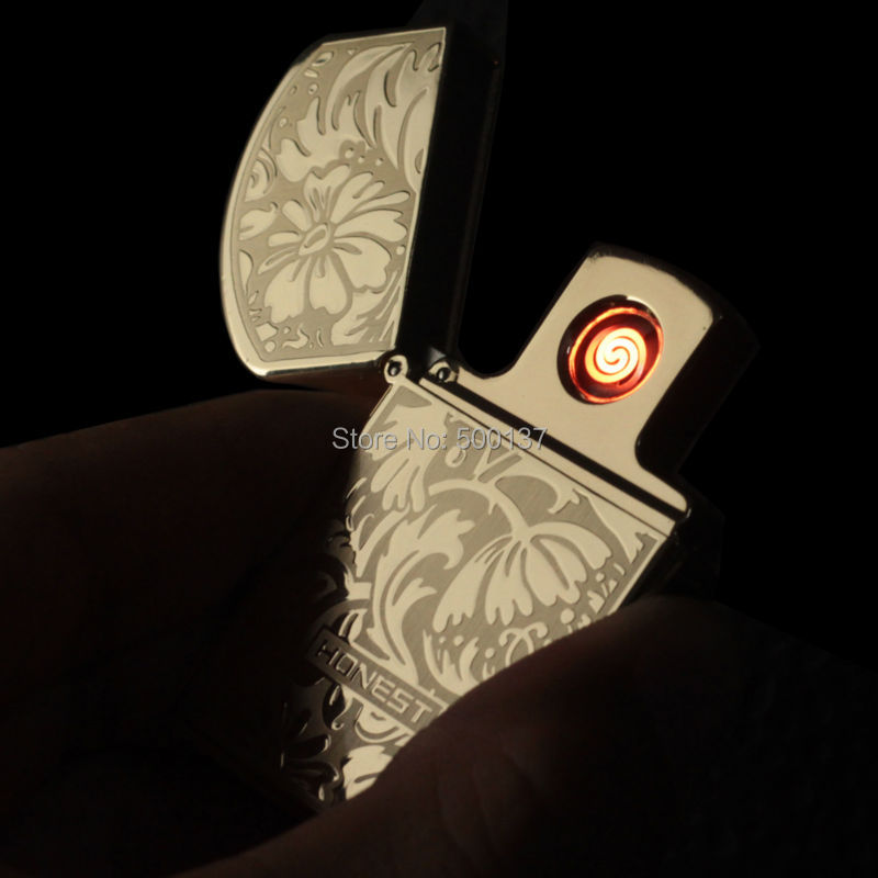Flower Laser Engraving USB Flameless font b Electronic b font Rechargeable Lighter Replaceable Heating Wire Windproof