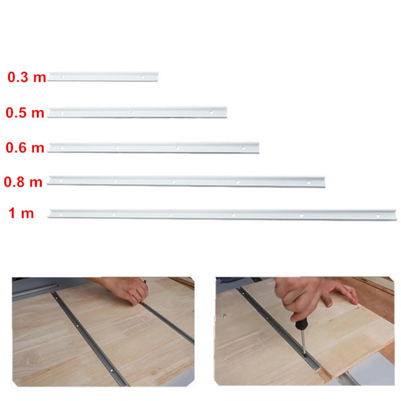 NE 0.3 / 0.5 / 0.6 / 0.8 / 1m Miter Track Gauge Rod Woodworking T-Track T-Slot Aluminum Alloy Bar Slider Table Saw Miter