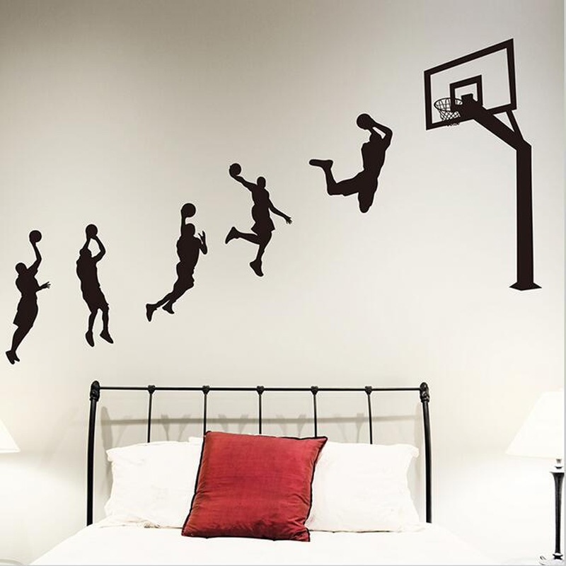 Basketball sports player handsome action vinyl removable wall stickers children 39 s room living room decoration boy room LQ08 in Wall Stickers from Home amp Garden