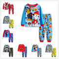 2016 de algodón de manga larga niños bebés establece niños pijamas pijama pijamas de los niños del muchacho de los niños de alta calidad ropa trajes 2-7y