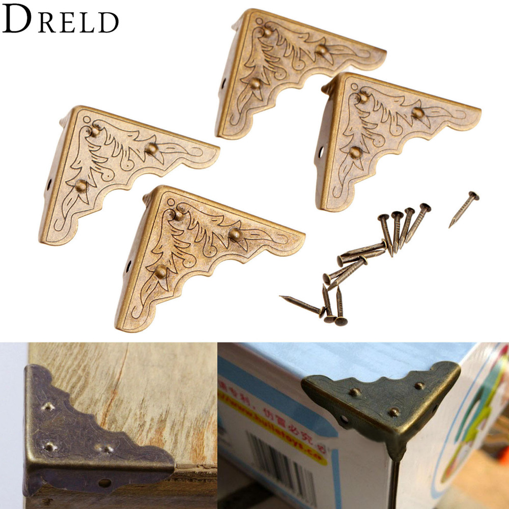 4Pcs Antique Mental Corner Decorative Protector Jewelry Box Gift Wine Chest Box Wood Case Feet Leg Corner Guard for Furniture 4pcs naierdi antique corner protector bronze jewelry chest box wooden case decorative feet leg metal corner bracket hardware