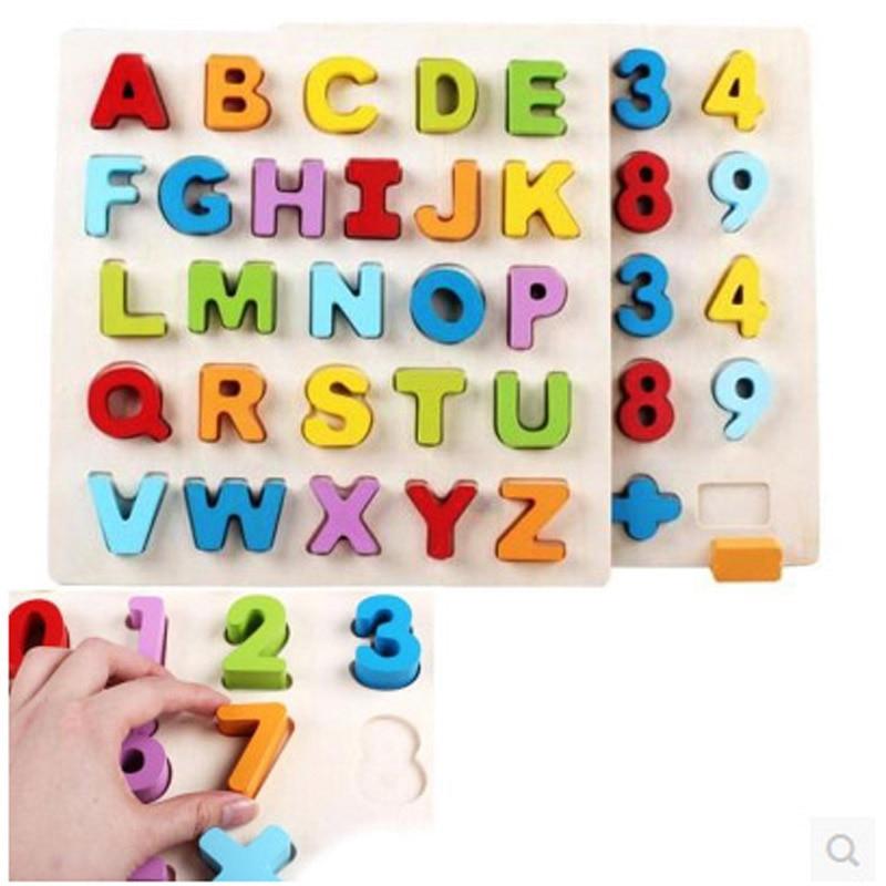 gratuit de transport maritim nou design minunat din lemn panoul digital puzzle alfabet englez pentru copii jucării forța de educație pentru copii