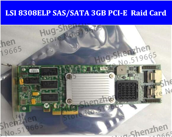 High Quality LSI 8308ELP SAS/SATA 3GB RAID Controller Card 8-port 128MB RAM PCI-EX4 RAID5 SAS Array Card 1pcs/lot цена