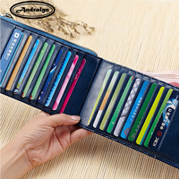 Andralyn 20 Card Bits Oil Wax Leather Wallet Fashion Thin Card Holders Bank Credit Card Case