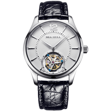 "Seagull ""Faith"" Series Tourbillon นาฬิกา Guilloche คู่มือ Hand Wind Mechanical นาฬิกาผู้ชายหนังจระเข้ไพลินคริสตัล"