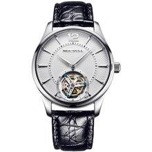 "Seagull ""Geloof"" Serie Tourbillon Horloge Guilloche Manual Hand Wind Mechanische heren Horloge Alligator Lederen Sapphire Crystal"