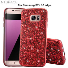 NTSPACE Case for Samsung Galaxy S7 Edge Bling Glitter Crystal Flash Powder PC+TPU Silicone Phone Case for Samsung S7 Back Cover