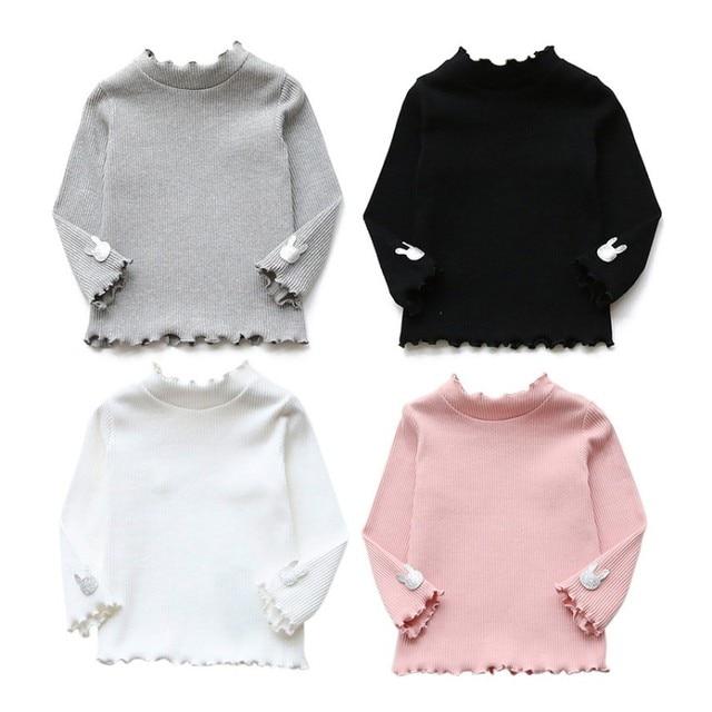 חולצה תינוקת סתיו חורף בגדי ילדי עיצוב רך כותנה T חולצות ארוך שרוול T חולצה עבור בנות חולצות