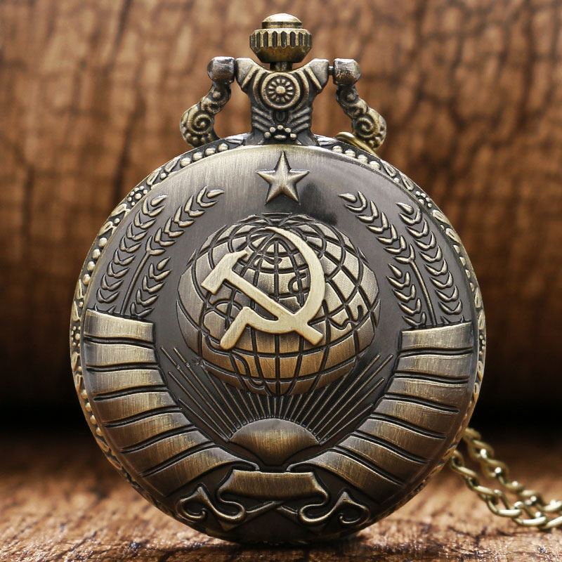 Vintage USSR Soviet Sickle Hammer Style Quartz Pocket Watch Necklace Bronze Pendant Clock CCCP Russia Emblem Communism Top Gifts(China)